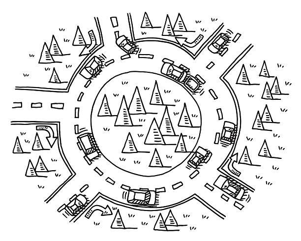 stockillustraties, clipart, cartoons en iconen met roundabout traffic drawing - rotonde kruispunt