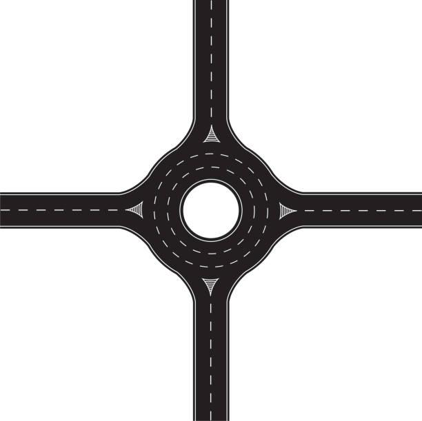 stockillustraties, clipart, cartoons en iconen met roundabout - rotonde kruispunt
