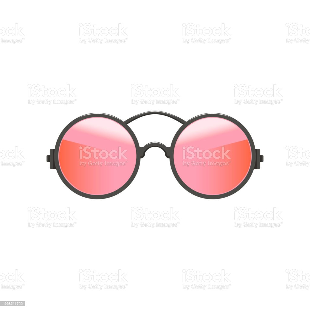 141fae19f4 Round circular hipster sunglasses with red-pink lenses and gray metal frame.  Fashion accessory for women. Flat vector icon - Illustration .