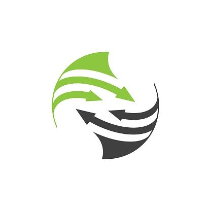 Rounded arrow Planet logo. Orbit vector and Satellite logo.