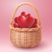 Rounded Basket of hearts, Valentine's day and love concept, vector art isolated on white.