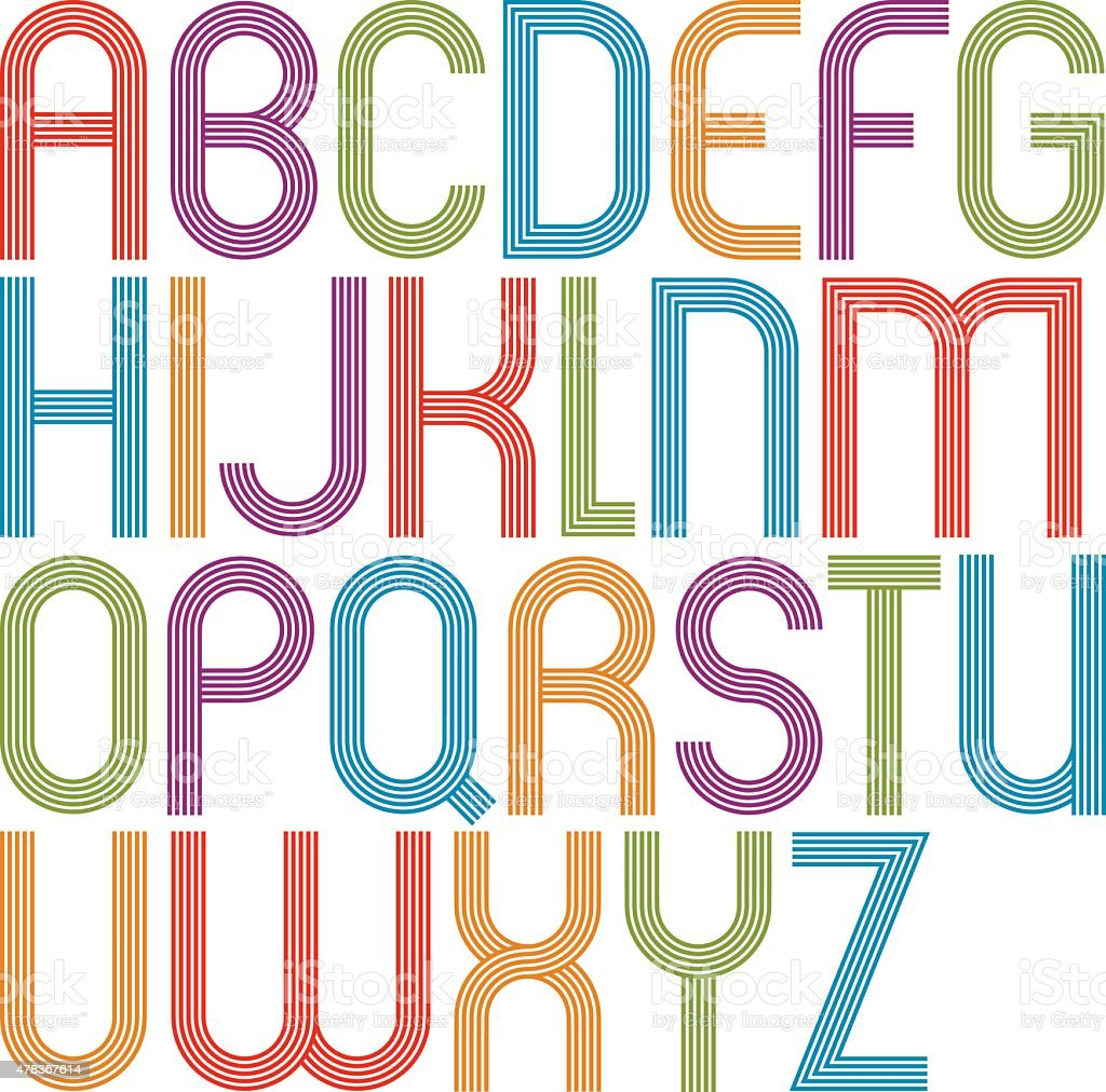 Rounded Big Jolly Cartoon Uppercase Letters Striped Colorful Royalty Free