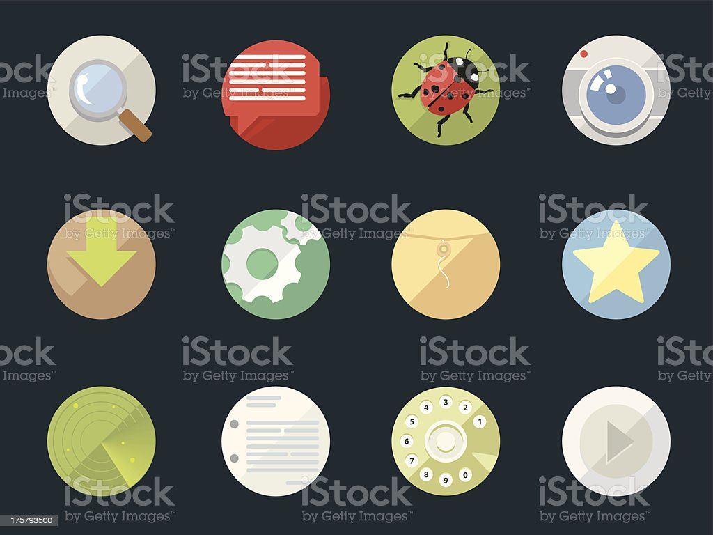 Rounded  Flat Icons for Web and Mobile Applications royalty-free stock vector art