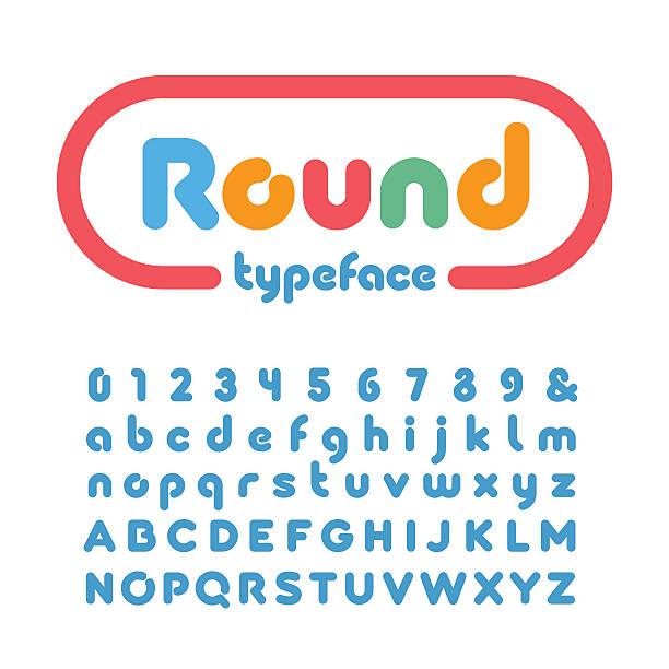 ilustraciones, imágenes clip art, dibujos animados e iconos de stock de redondeado fuente. vector de alfabeto con rosquillas de letras y números - nuevo bebé