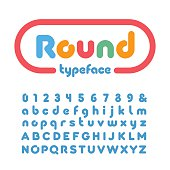 Rounded font. Vector alphabet with donut letters and numbers