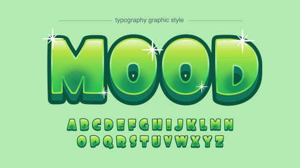 ilustraciones, imágenes clip art, dibujos animados e iconos de stock de tipografía de dibujos animados verdes de brillo redondeado - tipos de letra de burbujas