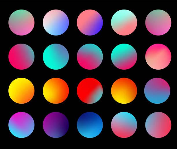 stockillustraties, clipart, cartoons en iconen met ronde holografische gradiënt sphere set. gradiënt kleurrijke bol in trendy stijl. multicolor ronde knoppen of levendige kleur bollen platte set. vector illustratie 10 eps - kleurenverloop