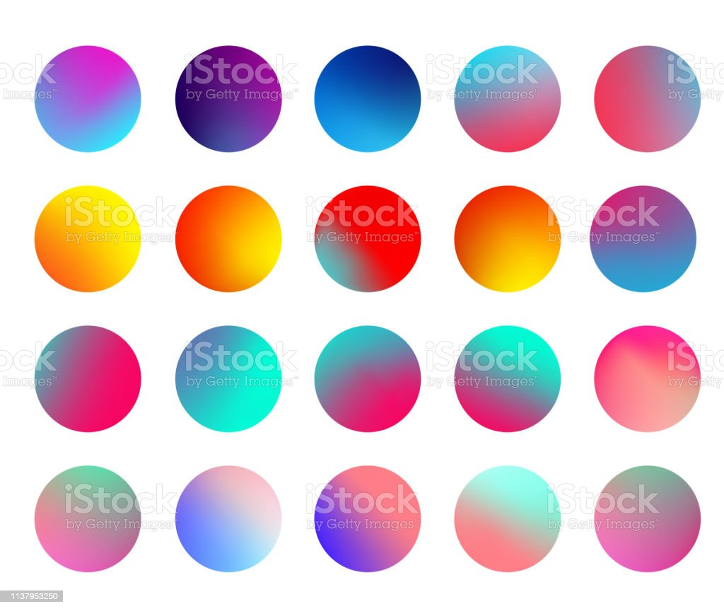 Rounded holographic gradient sphere set. Gradient colorful sphere in...