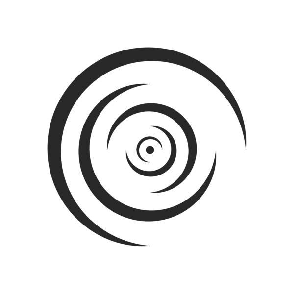 액체 로고의 잔물결의 둥근 선이 측면 동심 모양 흑백 디자인 요소로 분기 - 파문이 인다는 stock illustrations