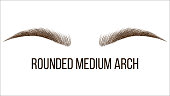 Rounded Medium Arch Vector Hand Drawn Brows Shape