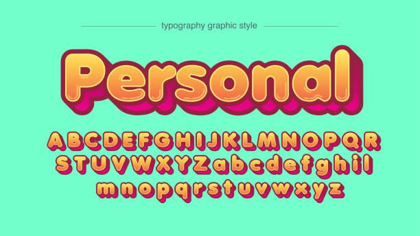 ilustraciones, imágenes clip art, dibujos animados e iconos de stock de naranja redondeada audaz 3d rosa dibujos animados dibujos tipografía - tipos de letra de burbujas