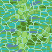 Rounded pentagonal grid foam form on stripes and ovals shapes. Abstract geometric elements seamless pattern.