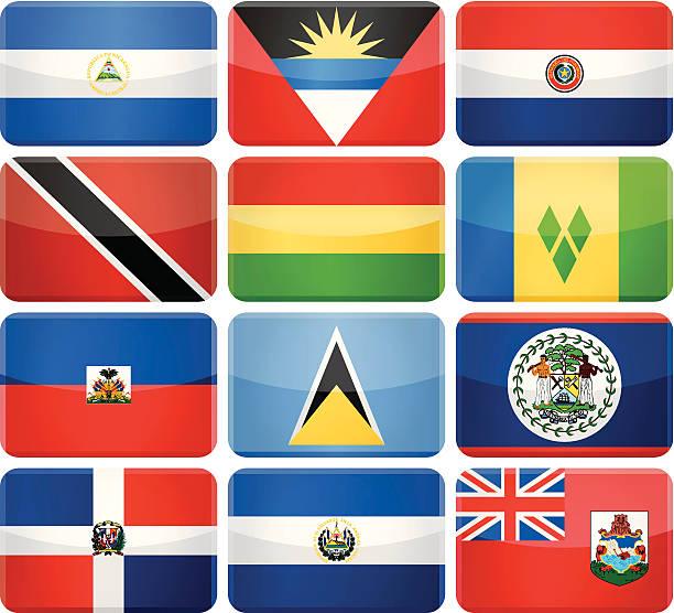 Redondeado rectángulo bandera iconos-Central y América del Sur - ilustración de arte vectorial