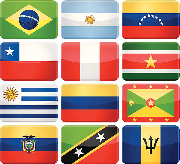 rounded rectangle flag icons - south and central america - ecuador flag stock illustrations