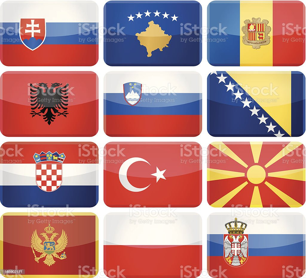 Rounded rectangle flag icons - South and Central Europe royalty-free stock vector art