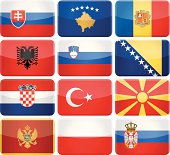 Rounded rectangle flag icons - South and Central Europe