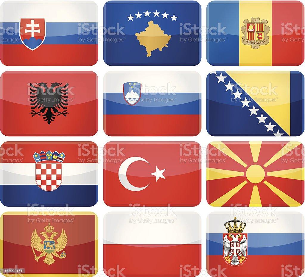 Redondeado rectángulo bandera iconos de Europa Central y del sur - ilustración de arte vectorial