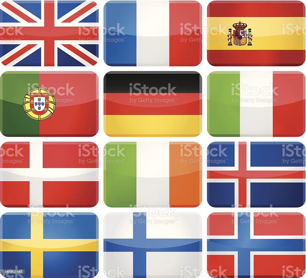 Rounded rectangle flag icons - Western and Nothern Europe royalty-free rounded rectangle flag icons western and nothern europe stock vector art & more images of british flag