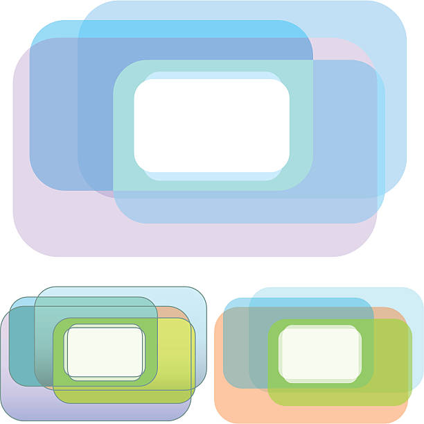 Rounded Rectangle Overlap Copyspace Set  blue silhouettes stock illustrations