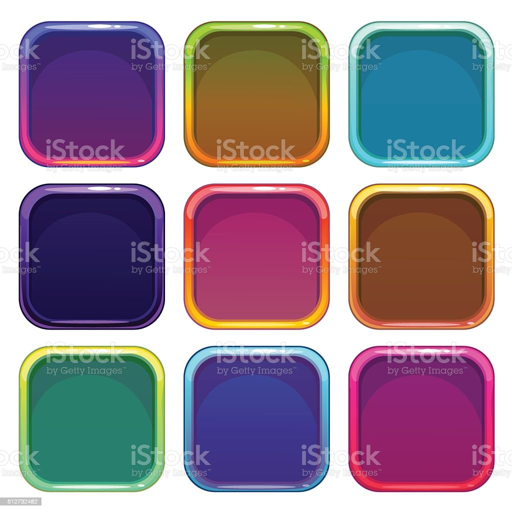 Rounded Square App Icon Frames Set Stock Vector Art & More Images of ...