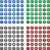 Rounded square long shadow style icons in various colors - eps8.