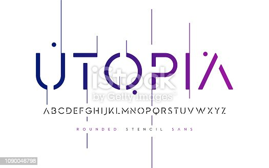 istock Rounded stencil san serif, alphabet, uppercase letters, typography. 1090046798
