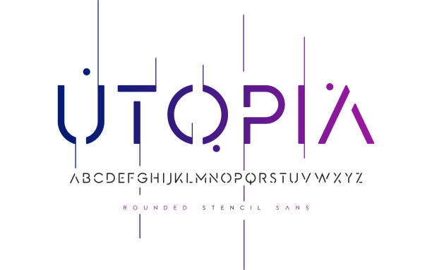 Rounded stencil san serif, alphabet, uppercase letters, typography. Rounded stencil san serif, alphabet, uppercase letters, typography. Vector illustration. alphabet designs stock illustrations