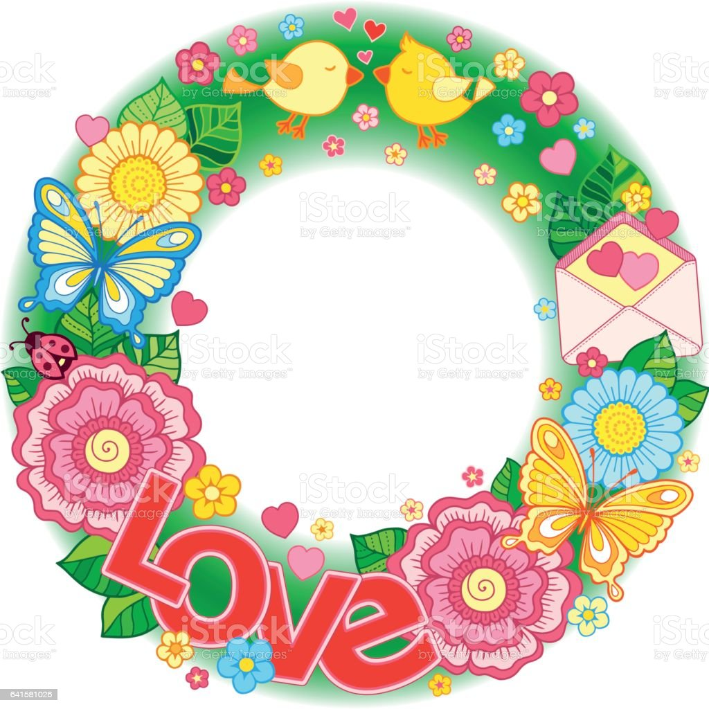 rounder frame made of flowers butterflies birds kissing and the