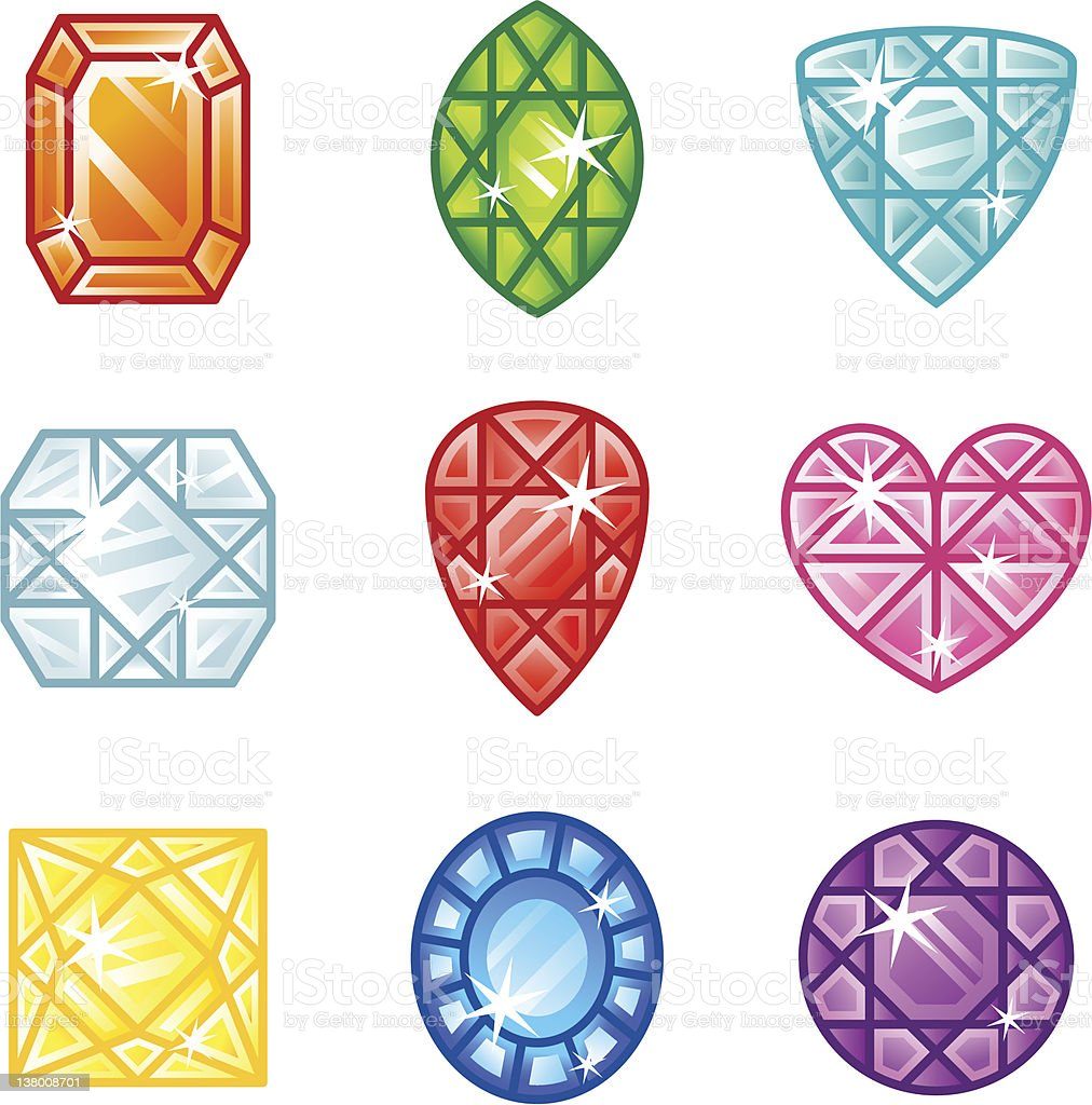 'Roundi' Icon Set -  GemStone royalty-free stock vector art