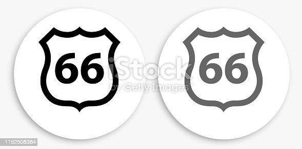 Route 66 Black and White Round Icon. This 100% royalty free vector illustration is featuring a round button with a drop shadow and the main icon is depicted in black and in grey for a roll-over effect.