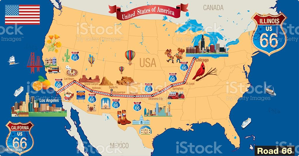 Map Of California Route 66.Route 66 Cartoon Map Stock Illustration Download Image Now Istock