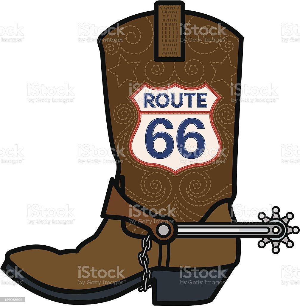 Route 66 Cowboy Boot vector art illustration