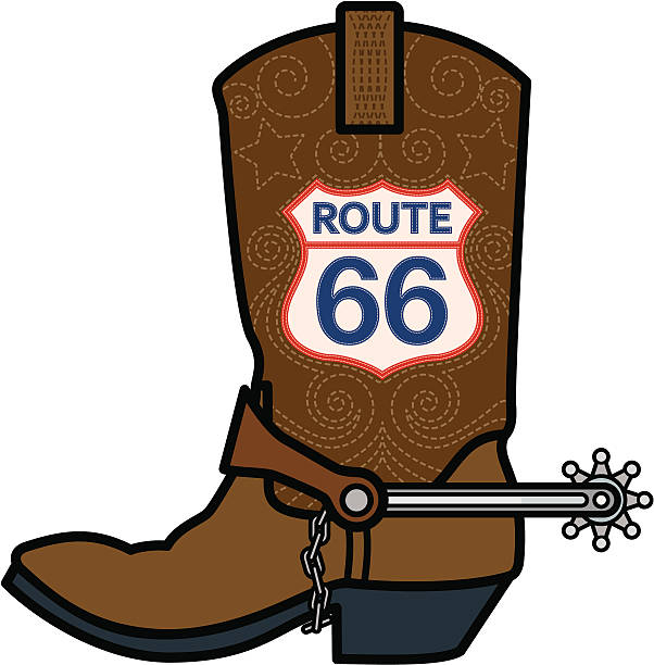 route 66 cowboy boot - cowboystiefel stock-grafiken, -clipart, -cartoons und -symbole