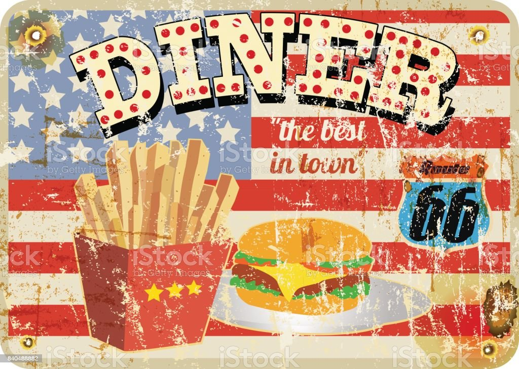 route 66 diner sign, grungy style vector art illustration
