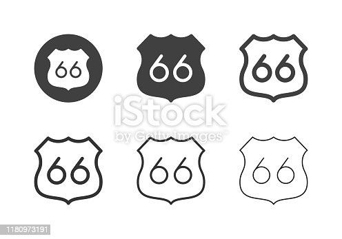 Route 66 Icons Multi Series Vector EPS File.