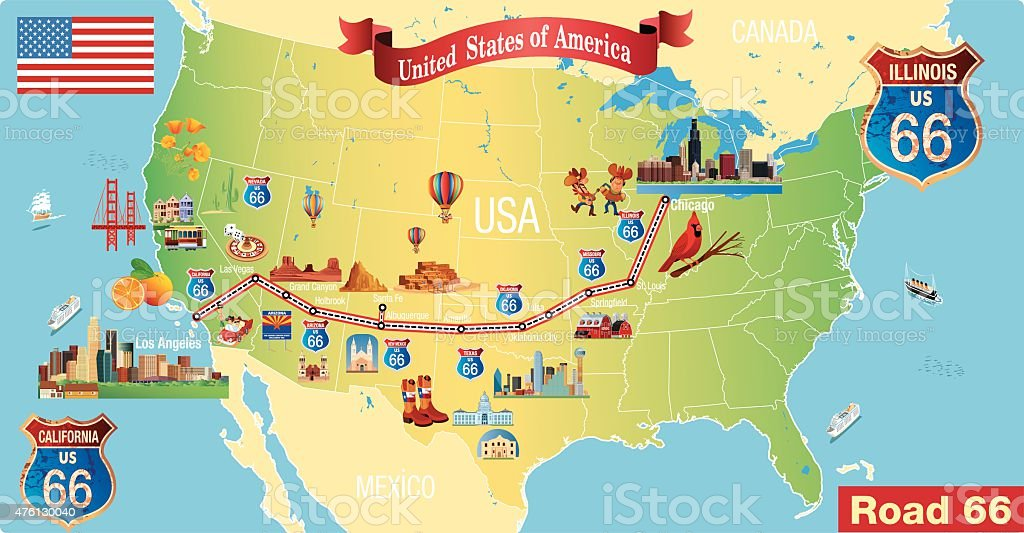 Top 60 Route 66 Map Clip Art Vector Graphics And Illustrations Istock
