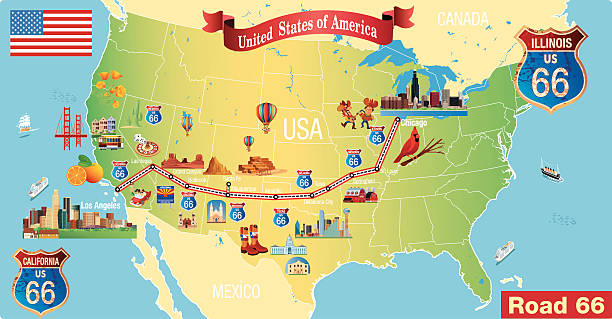 Map Of California Route 66.Top 60 Route 66 Map Clip Art Vector Graphics And Illustrations Istock