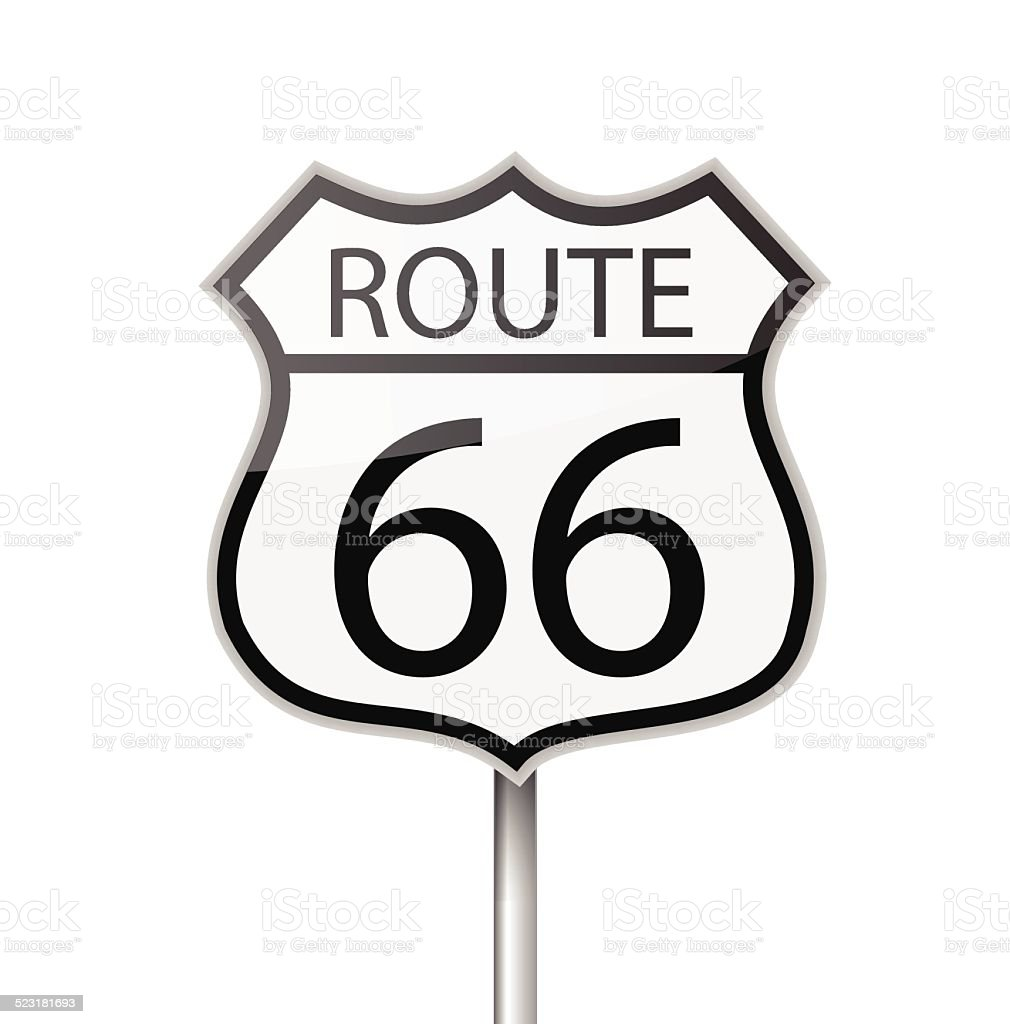 Route 66 road sign vector vector art illustration