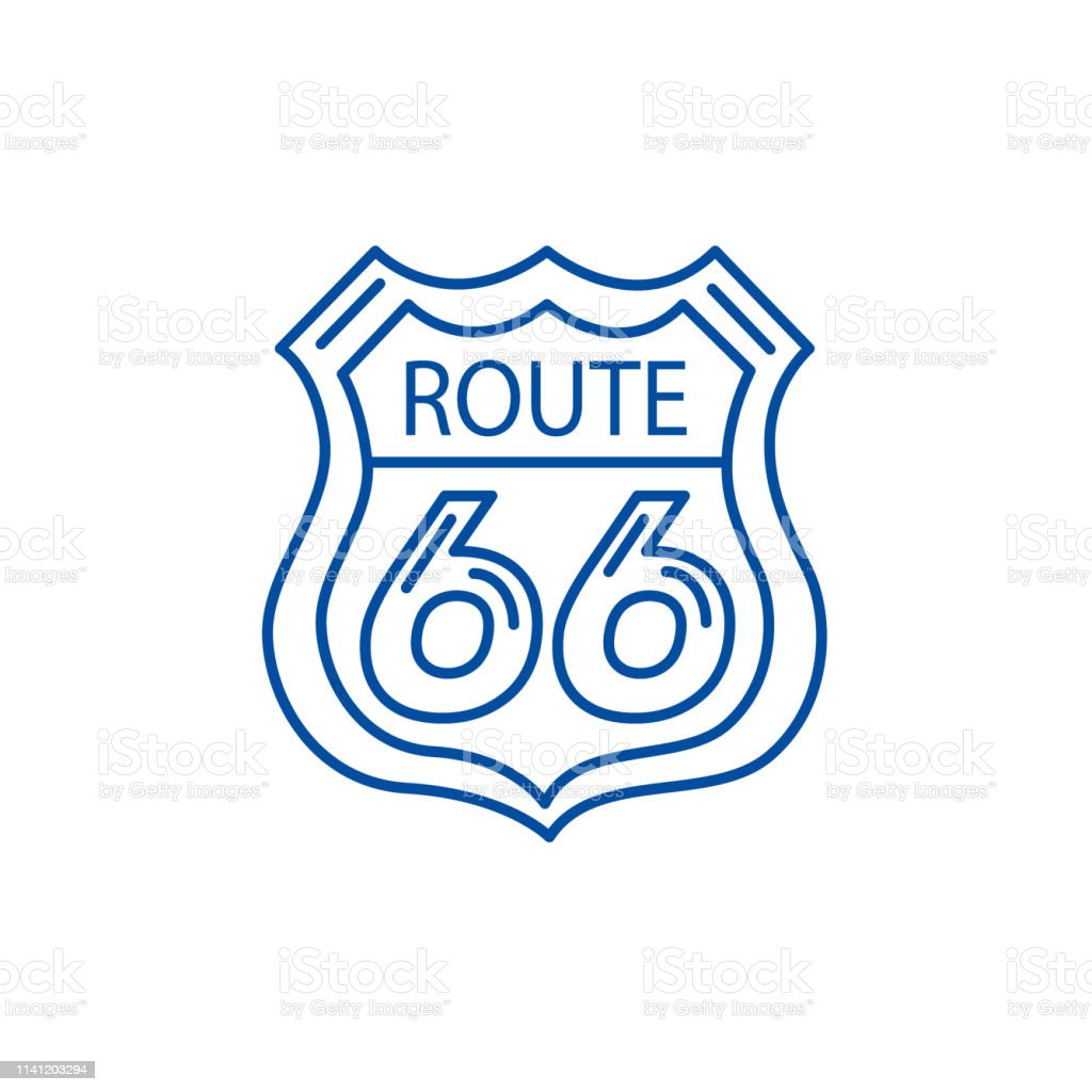 Route 66 sign line concept icon. Route 66 sign flat vector website...