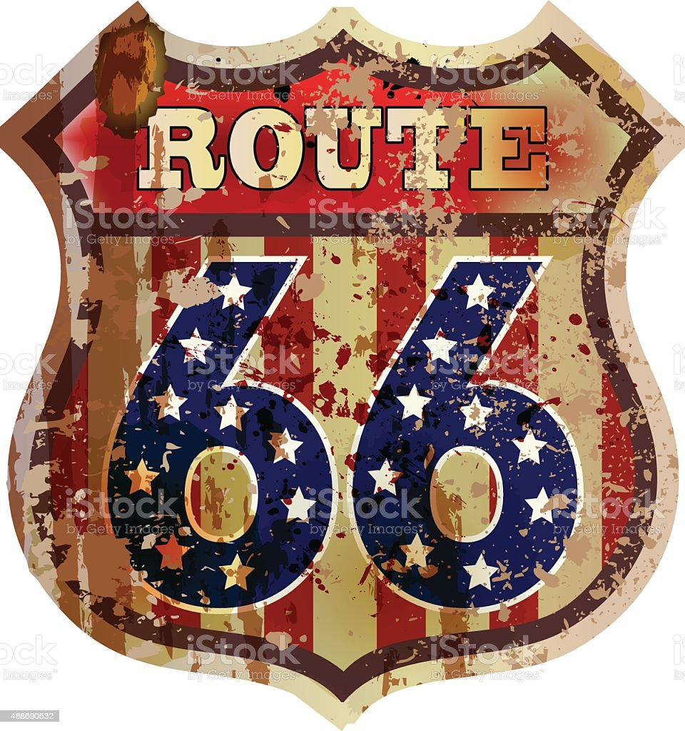route 66 sign retro,grungy style vector art illustration