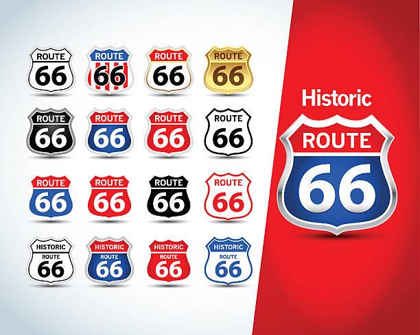 Señal de Ruta 66. La Ruta 66 emblemas aislado - ilustración de arte vectorial