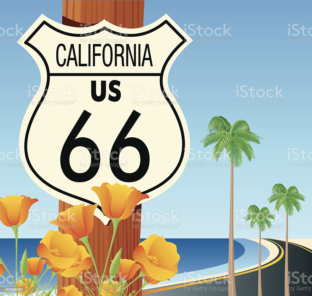 Route 66 sign royalty-free route 66 sign stock vector art & more images of beach
