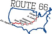 Route 66 with main cities map. Layered for easy editing, converted fonts. Fonts used are free for commercial use (Octin vintage and streetwear)