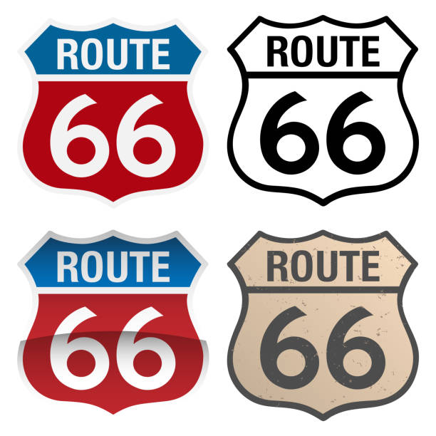 Route 66 vector signs illustration, in full color, black and white and antique versions Route 66 Vector Signs including red white and blue, with and without reflection gradient, black and white and distressed aged version, very clean illustration, vector version is organized in easy to edit layers highway stock illustrations