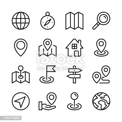 Route and navigation line icons set. Map, way, path, location. Modern graphic design concepts, simple outline elements collection. Vector line icons