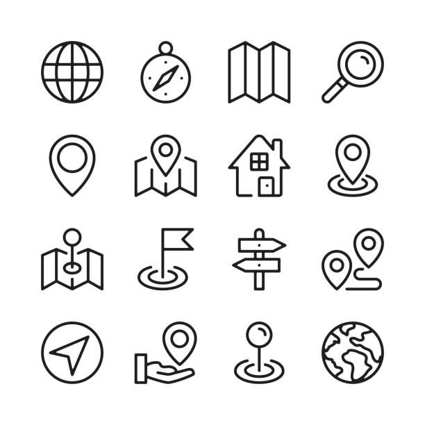 Route and navigation line icons set. Map, way, path, location. Modern graphic design concepts, simple outline elements collection. Vector line icons Route and navigation line icons set. Map, way, path, location. Modern graphic design concepts, simple outline elements collection. Vector line icons navigational equipment stock illustrations