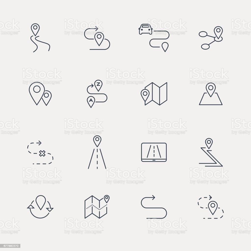 Iconos de la ruta - serie de la línea - ilustración de arte vectorial