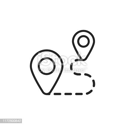 Route Outline Icon with Editable Stroke.