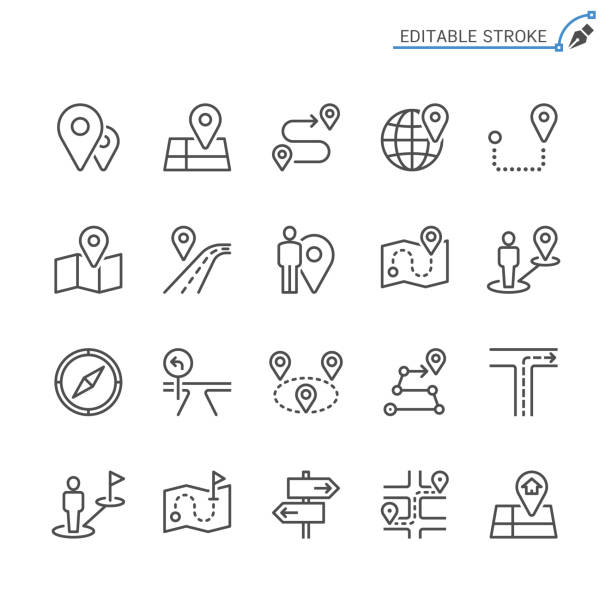 route line icons. editable stroke. pixel perfect. - traffic stock illustrations