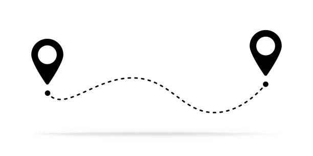 路線位置圖示、兩個引腳標誌和虛線道路、開始和結束行程符號、黑色向量插圖隔離在白色背景上 - 旅行 幅插畫檔、美工圖案、卡通及圖標